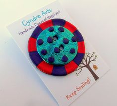BIG Button  Oversized Handmade Colourful Statement by CyndraArts, £5.99