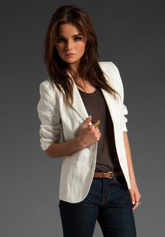 white shruken blazer - (however the model in this pic is way too skinny so it kind of ruins the jacket)