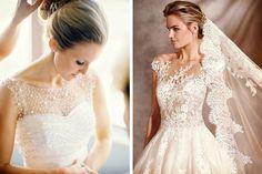 El escote ilusión en los vestidos de novia están en súper tendencia, en este post te cuento más sobre uno de mis looks favoritos para la boda #bodas #ElBlogdeMaríaJosé #Vestidonovia #EscoteIlusión