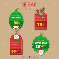 Cute christmas sale tags pack