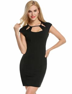 3cb9c4a990d6 ANGVNS Women's Cut out Sexy O-Neck Cap Sleeve Cocktail Party Mini Pencil Bodycon  Dress at Amazon Women's Clothing store: