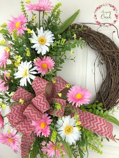 Spring Wreath for Front Door, Flower Wreath, Everyday Wreath, Pink Wreath, Grape… – Grapevine Wreath İdeas. Pink Wreath, Diy Spring Wreath, Spring Crafts, Floral Wreath, Outdoor Wreaths, Mothers Day Flowers, Sunflower Wreaths, Wreaths For Front Door, Front Doors