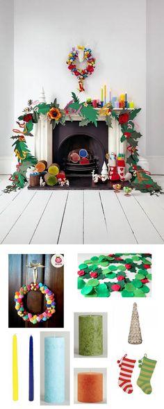 colorful holiday mantel decorating | #adoredecor #homedecor #design #christmas
