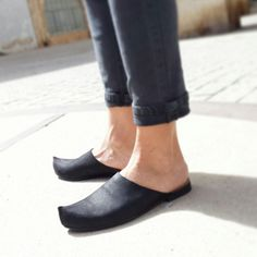CIJ Sale Black slip ons Woman flats Open back Black by UnaUnaShoes