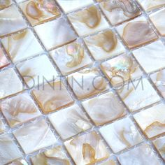 Our Material:Freshwater white natural mother of pearl (MOP)mosaic tiles Chip chip sizes can be customized,please inquire. Mosaic Tiles, Fresh Water, Shells, Pearls, Ideas, Pug, Mosaic Pieces, Conch Shells, Seashells