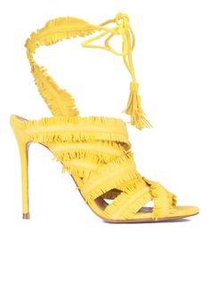 86c3dde83db Pura Lopez Mireya- Comprar sandalias atadas de tacón alto realizadas en  ante amarillo con flecos