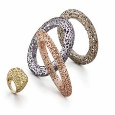 The Fifth Season rose or yellow gold, ruthenium or chocolate-plated silver bangles and ring by Roberto Coin
