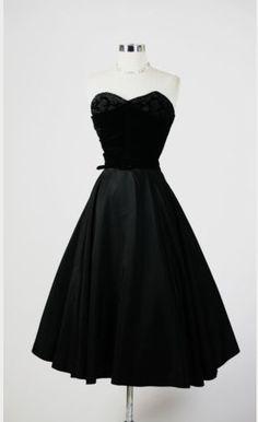 1950s 40s 50s Elegant Strapless Beaded Black Party Full Dress S | eBay