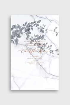 BLISS & BONE / Carrara Vineyard Invitation / Stationery Inspiration / Marble + floral wedding invite design with gold foil / Modern monochrome / Dramatic / Nature-Inspired Prints / Letterpress / The LANE