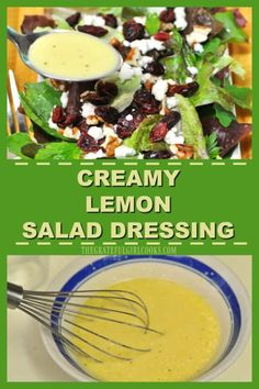 Creamy Lemon Salad Dressing / The Grateful Girl Cooks! This delicious, creamy lemon salad dressing only takes a few pantry ingredients and a couple minutes to make from scratch! Salsa Gravy, Lemon Salad Dressings, Girl Cooking, I Foods, Salad Recipes, Pantry, Grateful, Salads, Cooking Recipes