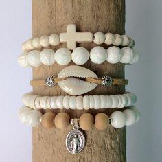 white bohemian bracelet stack shells beach boho bohemian jewelry