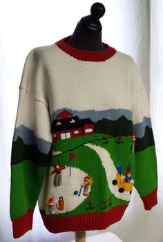 """By Cotton Salsa """"Size L"""" Made in Peru Measurements taken flat Shoulder Chest Waist Length Golf Sweaters, Christmas Sweaters, Salsa, The 100, Men Sweater, People, How To Make, Cotton, Etsy"""