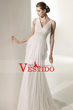 2012 Colección de la boda vestidos de vaina / columna cuello en V tribunal cola gasa USD 201.49 VEPFHX9J9G - Vestido2015.com