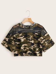 Shop Camo Print Fishnet Yoke Trim Crop Hoodie at ROMWE, discover more fashion styles online. Cute Lazy Outfits, Camo Outfits, Crop Top Outfits, Edgy Outfits, Pretty Outfits, Swag Outfits, Girls Fashion Clothes, Teen Fashion Outfits, Outfits For Teens