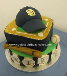 Homemade Baseball Cake: This is a Baseball Cake for a Little League end of the season party. Each tier is one layer of vanilla and one layer of chocolate with a vanilla buttercream