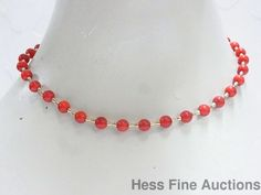 Vintage Natural Red Coral 14K Gold 1950s Oxblood Bead 16.5 inch Necklace