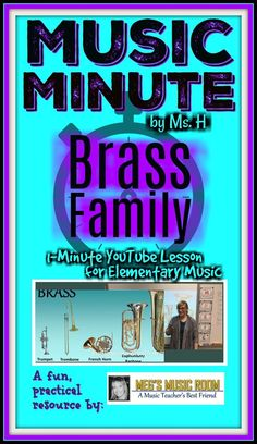One-minute music lesson about the qualities of the brass family in the orchestra. Show this to your elementary music kids as a fast and easy review or intro to brass instruments trumpet, trombone, French horn, euphonium and tuba. Great as a bell ringer (c Music Classroom, Music Teachers, Music Education Activities, Teaching Resources, Smart Board Lessons, French Horn, Music And Movement, Piano Teaching, My Teacher