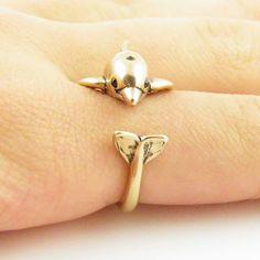 Animal Wrap Ring - Dolphin - Yellow Bronze - Adjustable Ring - Keja Jewelry