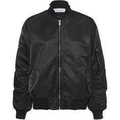 IRO . JEANS Adrienne Black // Bomber jacket in destroyed look ($620) ❤ liked on Polyvore featuring outerwear, jackets, shiny nylon jacket, shiny jacket, flight jacket, nylon bomber jacket and stand collar jacket