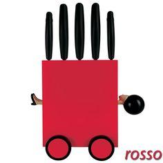 Coltelli Set 5pezzi con 15x11,5xh35cm base Magic box colore rosso | e-my | Stilcasa.Net: ceppi porta coltelli