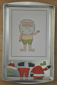 Dress Santa for Christmas Cookie Sheet Activity This would also be fun as à decorate the Christmas tree, build the snowman, a nativity scene, or fill Santa's sleigh. @ decorating-by-daydecorating-by-day Preschool Christmas, Noel Christmas, Christmas Activities, Winter Christmas, Christmas Themes, Holiday Crafts, Holiday Fun, Father Christmas, Cookie Sheet Activities
