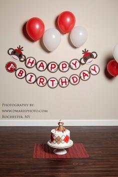 Option 4 - already made  Sock Monkey Happy 1st Birthday Banner by Quax on Etsy, $20.00