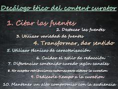 Decálogo ético del content curator. Imagen del post de este título en el blog loscontentcurators
