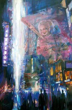 Skyline 2089 City Style, Oil On Canvas, Saatchi Art, Original Paintings, Skyline, Fine Art, Landscape, Gallery, Artwork