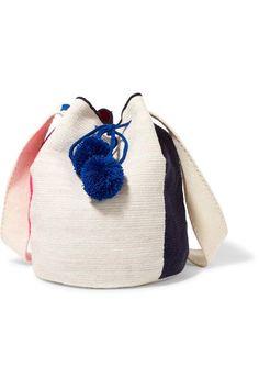 Sophie Anderson - Lilla Pompom-embellished Crocheted Shoulder Bag - Cream