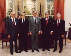 Presidents Gerald Ford, Richard Nixon, George Herbert Walker Bush, Ronald Reagan, and Jimmy Carter at the dedication of the Reagan Presidential Library.