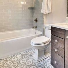 Incorporate this exceptional tile design into your bathroom space that is sure to be the crowning achievement - Cheverny Blanc Encaustic Cement Wall and Floor Tile - 8 x 8 in