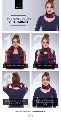 So bindest Du Deinen Schal eng am Hals ohne Dein Outfit zu verdecken. Hier geht's zu unserem neuen Schal Tutorial – Chain-Knot