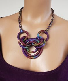 Fiber Circles & Braided Cord Necklace by fibre2love on etsy
