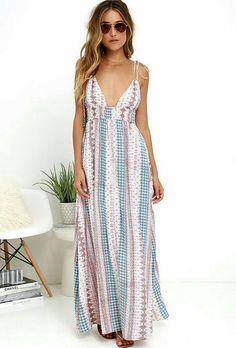 182334b6548 Living the high life is easy in the Maxin  Relaxin  Multi Print Maxi Dress!  A varied print in light blue