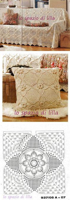 Cover and pillows beautiful motives Diy Crochet Bikini, Crochet Scarf Easy, Crochet Pillow, Crochet Art, Crochet Cushions, Crochet Home, Crochet Motif, Irish Crochet, Crochet Purse Patterns