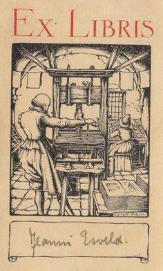 Ex libris Con la imprenta como motivo