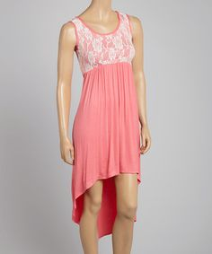 Another great find on #zulily! Coral Lace Hi-Low Maxi Dress #zulilyfinds  This would be cute and easy for summer...