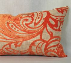 Pillow Cover  Velvet Paisley in Orange  12 x 20 by TheModernPlace, $46.00