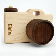 Some kid's imitate there mom cooking, some imitate their mum doing their job - NEED THIS! Personalized organic wood camera from Little Sapling Toys