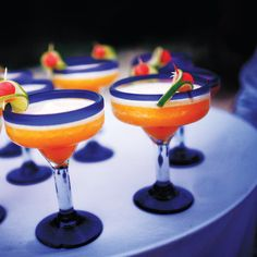 Lime, mango, and strawberry margaritas. Del Sol Photography.