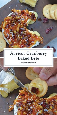 Apricot Cranberry Baked Brie - The BEST Baked Brie Recipe - Apricot Cranberry Baked Brie is the ultimate appetizer. This baked brie appetizer will be perfect for any party or romantic evening in. Baked Brie Appetizer, Fall Appetizers, Finger Food Appetizers, Appetizer Recipes, Appetizer Ideas, Elegant Appetizers, Christmas Appetizers, Burger Recipes, Finger Foods