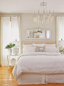 SLEEP / Bedrooms Trendy Bedroom White Comforter Color Schemes Chandeliers Ideas How To Choo White Bedroom, White Comforter, Bedroom Makeover, White Bedroom Furniture, Home Decor, White Master Bedroom, Bedroom Inspirations, White Walls, Trendy Bedroom
