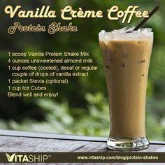 Vanilla Creme Coffee Protein Shake Recipe | Protein Shakes and Printable Recipes: http://blog.antiagingcompany.com/vanilla-creme-coffee-protein-shake/