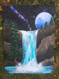 Waterfall Painting - Step By Step Painting Tutorial - For Beginners - Kayla Clifford!🖤❄️🎨 - Waterfall Painting - Step By Step Painting Tutorial - For Beginners How To Paint Galaxy Falls - Step By Step Painting - Canvas Painting Tutorials, Easy Canvas Painting, Simple Acrylic Paintings, Acrylic Painting Techniques, Easy Paintings, Acrylic Art, Canvas Art, Painting Art, Galaxy Painting Acrylic