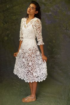 Amazing sheer lace bridal gown / hand made 3D crochet by andeebird