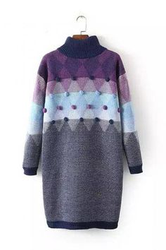 SheIn offers Purple Grey Mock Neck Twisted Ball Sweater Dress & more to fit your fashionable needs. Purple Sweater Dress, Purple Long Sleeve Dress, Long Sleeve Sweater Dress, Knit Dress, Sweater Dresses, Tunic Sweater, Gray Dress, Dress Long, Gray Sweater