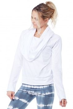 LVR Pullover Cowl Neck Hoodie in White 65