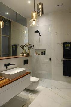 40 Amazing Lighting For Farmhouse Bathroom Ideas Decorating And Remodel Modern Bathroom Lighting, Modern Bathroom Design, Bathroom Interior Design, Bathroom Designs, Vanity Lighting, Bad Inspiration, Bathroom Inspiration, Bathroom Ideas, Asian Bathroom
