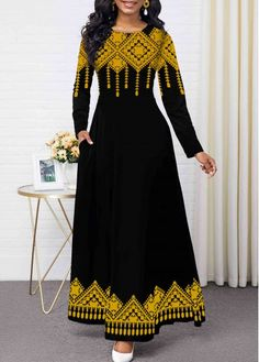 Women'S Black Tribal Print Long Sleeve Maxi Dress Round Neck High Waisted Elegant Cocktail Party Dress By Rosewe Round Neck Tribal Print Long Sleeve Latest African Fashion Dresses, Women's Fashion Dresses, Sexy Dresses, Casual Dresses, Latest Dress, Long Dresses, Dress Long, Party Dress Sale, Club Party Dresses