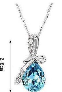 Sky Blue Swarovski Crystal Pendant 925 Sterling Silver Adjustable Costume Chain